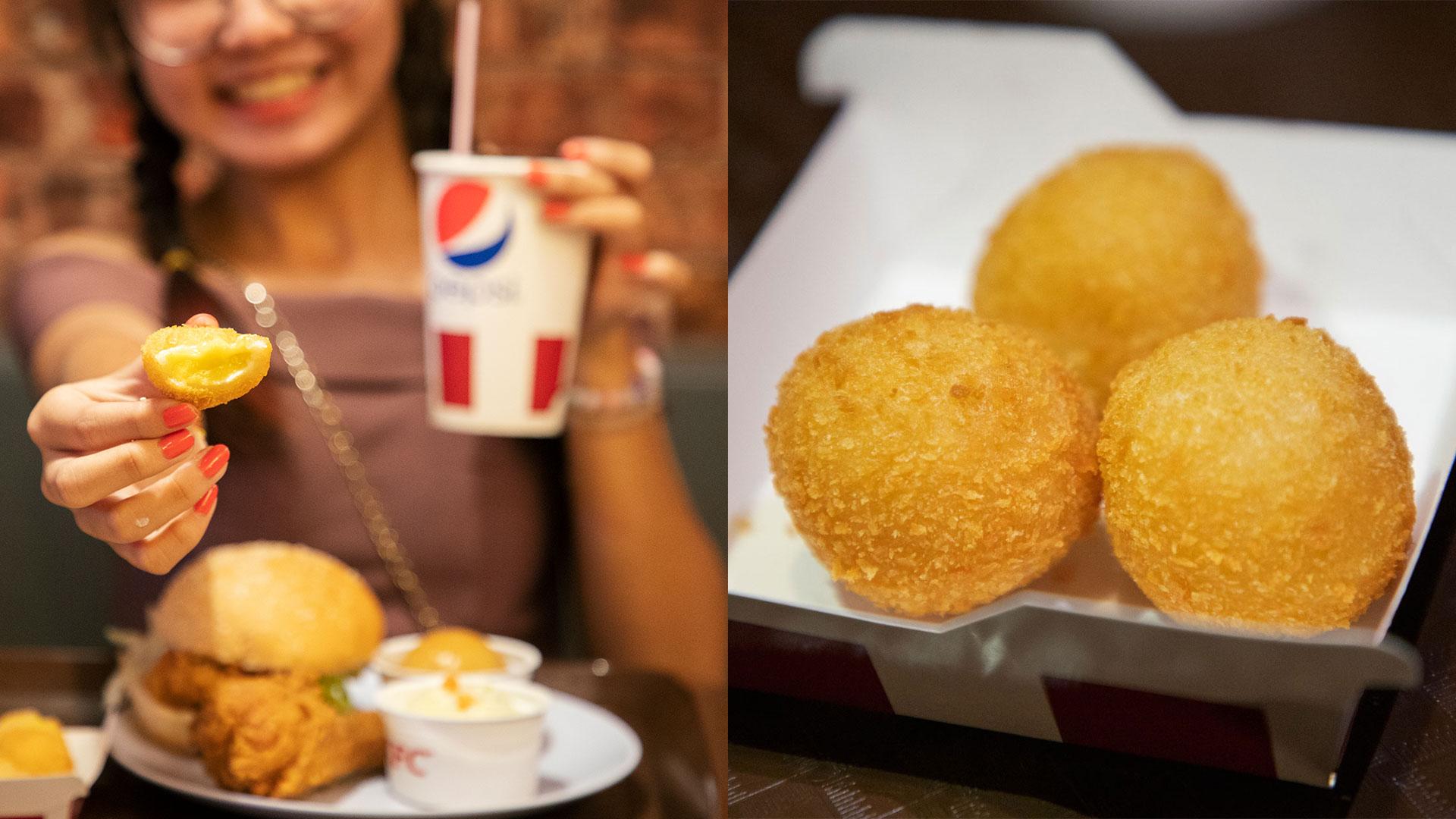 ស្រួយពីខាងក្រៅ ទន់ខាប់ពីខាងក្នុង រសជាតិថ្មីនេះមានក្នុង KFC Durian Balls