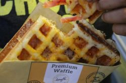 The brand new, Brussels Waffle with Ham & Cheese